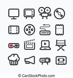 Different video industry icons set with rounded corners....