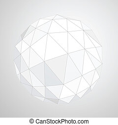 Abstract geometric paper origami sphere composition