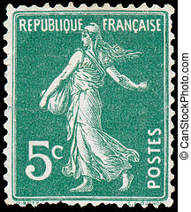 FRANCE - CIRCA 1906: stamp printed by France shows sowing,...