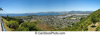 Rotorua city and lake panorama - Panoramic view of Rotorua...