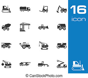 Vector black construction transport icons set white...