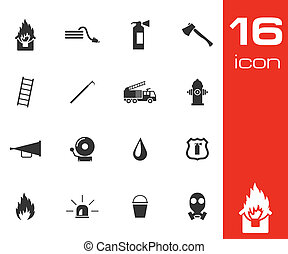 Vector black firefighter icons set white background