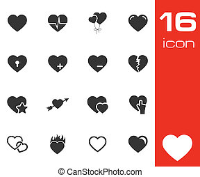Vector black hearts icons set white background