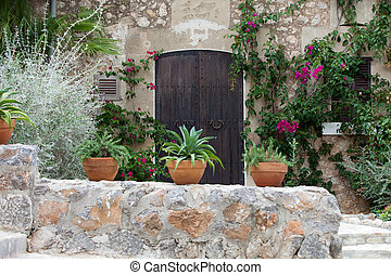 Old charming street in spanish village Valldemossa, Mallorca...