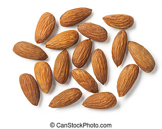 Almonds isolated on white background. with clipping path