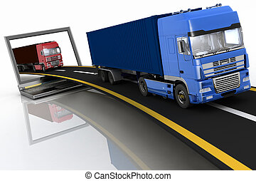Trucks coming out of laptop - Trucks on freeway coming out...