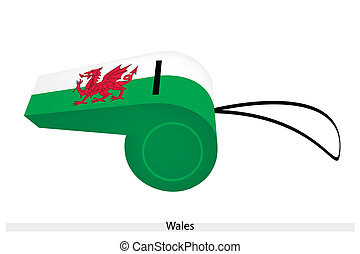 A Dragon on White and Green Whistle of Wales - A Red Dragon...
