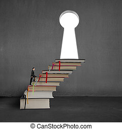 Businessman walking on stack books to key shape door on...