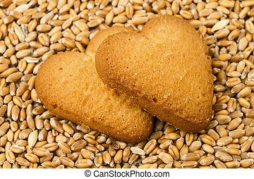 shortcake on wheat background