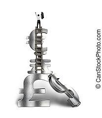 Cheered businessman standing on top of stack money symbols