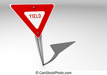 Yield sign over a bright background - A single yield traffic...