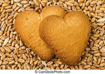 shortcake on wheat background