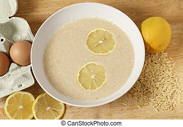 Avgolemono egg and lemon soup - Avgolemono soup - made with...