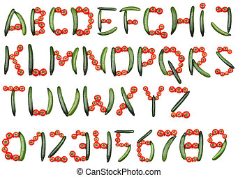 Alphabet of tomatoes and cucumbers