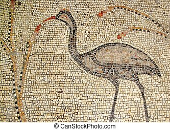 Ancient mosaic Tabgha, Israel - inside the Church of the...