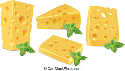 Cheese and basil. Contains transparent objects. EPS10