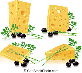 Cheese, olives, onion, parsley. Contains transparent...