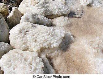 Salt crystallization at coast of the Dead Sea