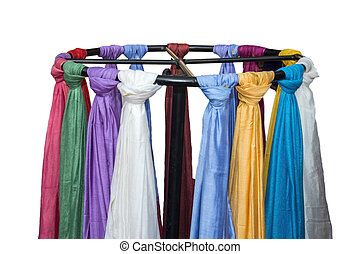 Scarves on round stand - Scarves on sale in round stand...