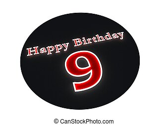 Happy Birthday with age on black button - The lettering...