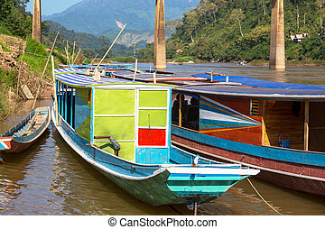 Boat in Laos - traditional boats in Laos