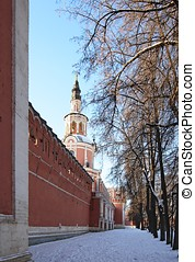 Donskoy Monastery. Gate church and surrounding wall. The monastery was established in 1591 and used to be a fortress.
