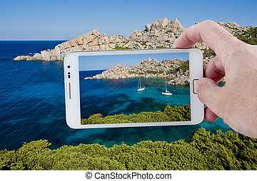 Taking a picture with Smartphone in Sardinia - The wonderful...