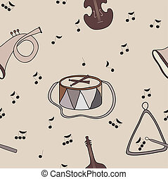 Background with music notes and ins