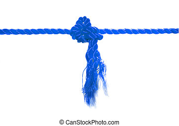 Blue rope joint knot - Blue rope knot joint on white...