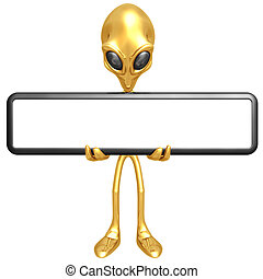 Alien With Blank Sign - 3D Concept And Presentation Figure