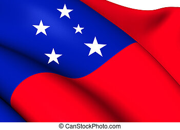 Independent State of Samoa Flag. Close Up.