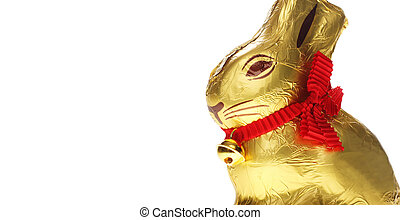 golden chocolate Easter bunny - A golden chocolate Easter...