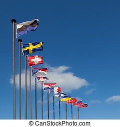 National flags of different countries on a background of...