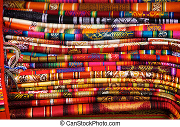 Otavalo Blankets - Colorful blankets for sale in the market...