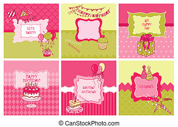 Set of Cards - Birthday and Party Theme - in vector