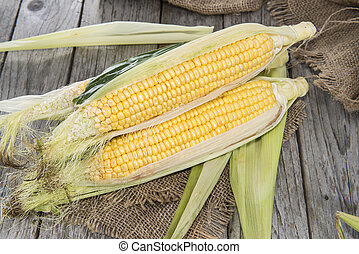 Corncobs - Some fresh Corncobs on vintage background...