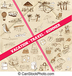 Set of Travel, Summer and Vacation Theme - hand drawn in vector