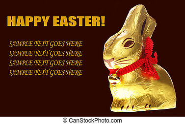 isolated golden chocolate Easter bunny - A golden chocolate...