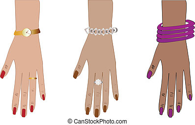 woman hands with accessories - vector illustration: women...