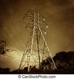 Electric Power Tower - Electric power tower and electricity...