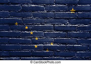 Alaska State Flag painted on brick wall