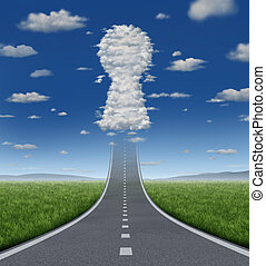 Key To Growing - Key to growing success concept with a road...