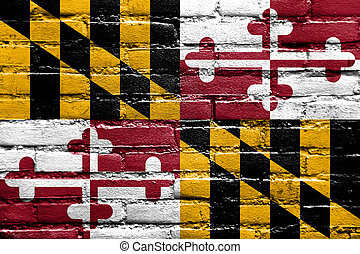 Maryland State Flag painted on brick wall