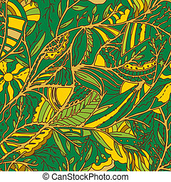 Seamless hand-drawn pattern with leaves