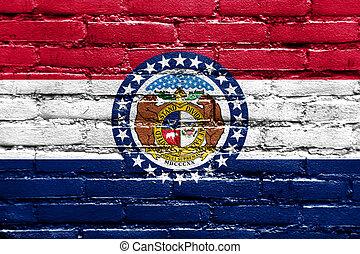 Missouri State Flag painted on brick wall