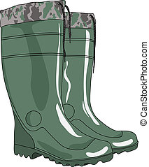 Green rubber boots vector