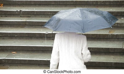 Woman with umbrella under rain