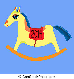 Vector illustration year of the horse, toy horse rocking...