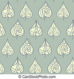 Seamless pattern with doodle leaves