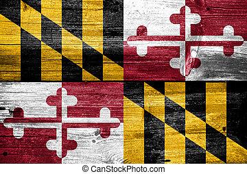 Maryland, stato, bandiera, dipinto, vecchio, legno, asse,...